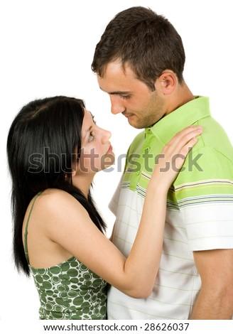 Young loving couple isolated on white background - stock photo