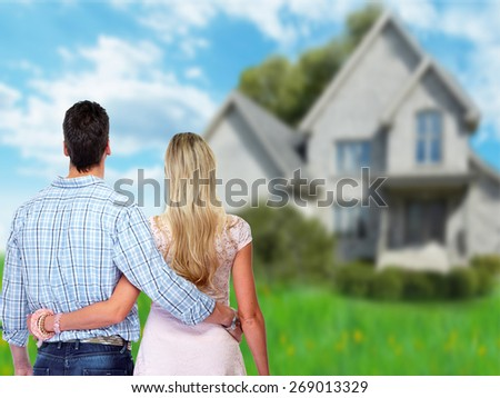 Young military couple facing ghosted house stock photo 298311152 shutterstock - Young couple modern homes ...
