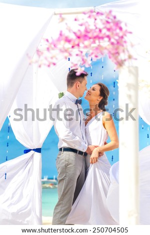 young loving couple on their wedding day, beautiful wedding arch on beach, outdoor beach wedding in tropics - stock photo