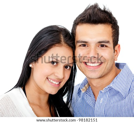 Young loving couple smiling - isolated over a white background - stock photo