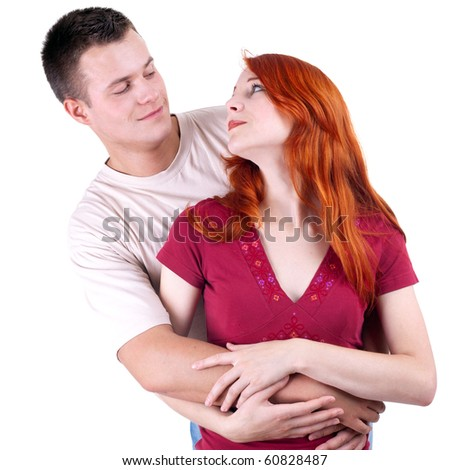 young loving people, woman and man, hugging each other - stock photo