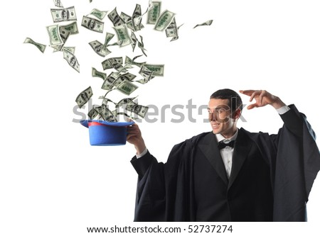 young magician and dollar explosion - stock photo