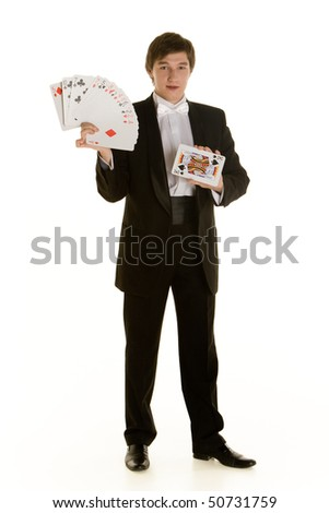 young magician with cards on white background