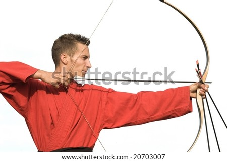 Young male archer aiming with perfect geometry, side view, isolated on white