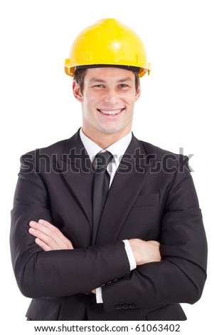 young male construction manager - stock photo