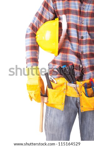 Young male construction worker, isolated over white background - stock photo