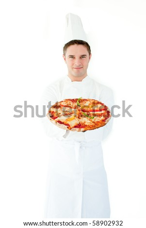 Young male cook smell at pizza with closed eyes against white background - stock photo