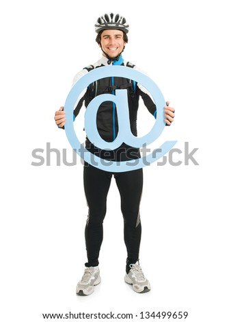 Young Male Cyclist Holding Email Symbol Isolated On White Background - stock photo