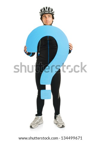 Young Male Cyclist Holding Question Mark Isolated On White Background - stock photo