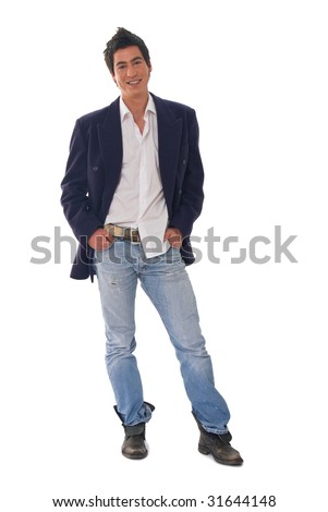 Young male fashion model on white backgrounds