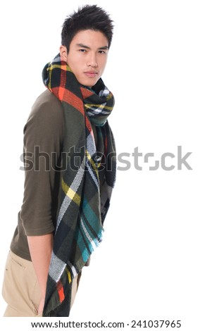 young male handsome man warmed up in scarf, - stock photo