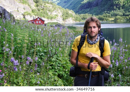 Young male hiker in Norway. - stock photo
