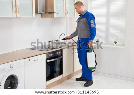 Young Male Pest Control Worker Spraying Pesticide On Induction Hob In Kitchen - stock photo