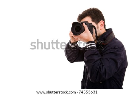 Young male photographer with camera, isolated on white - stock photo