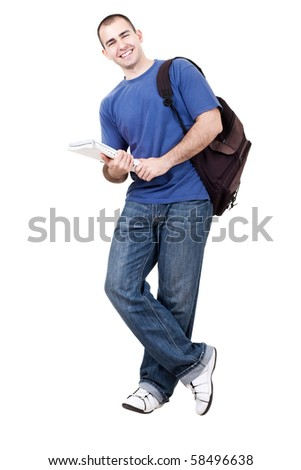 young male student carrying bag and books on white