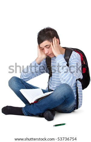 Young male student learning frustrated and tired for exam. Isolated on white background.