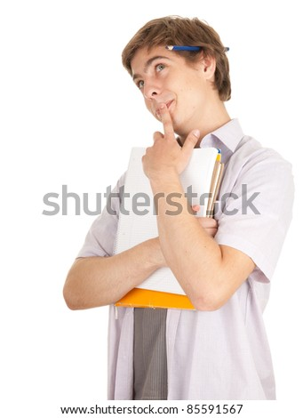 young male student with books,white background, series - stock photo