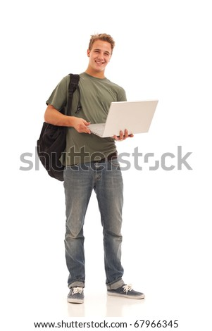 Young male student with laptop - stock photo