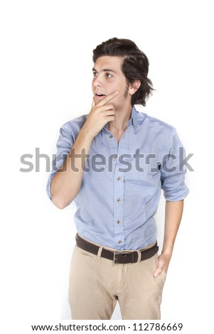 Young male thinking . Isolated on white background - stock photo