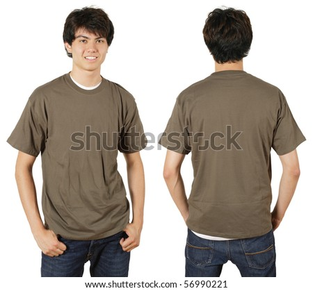 Young male with blank chestnut t-shirt, front and back. Ready for your design or logo.