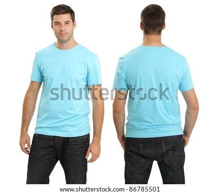 Young male with blank light blue t-shirt, front and back. Ready for your design or artwork. - stock photo