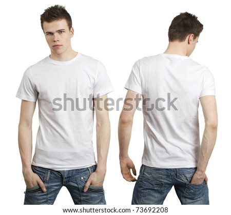 Young male with blank white t-shirt, front and back. Ready for your design or logo. - stock photo