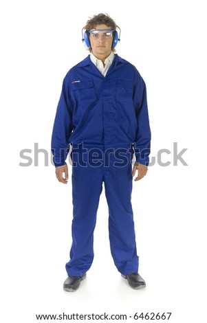 Young male worker in protective workwear. He's looking at camera. Isolated on white background - stock photo