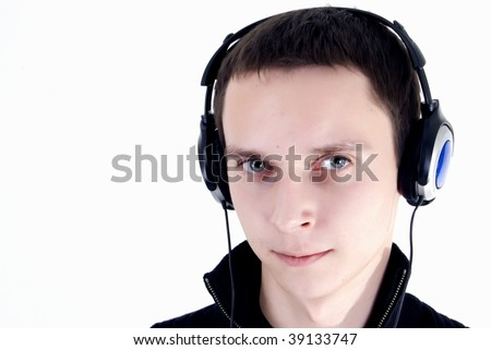 Young man active listening music