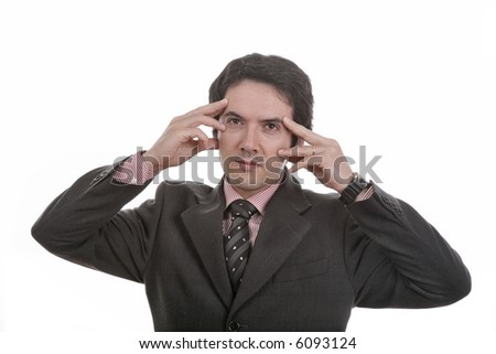 young man adult thinking in a white background... - stock photo