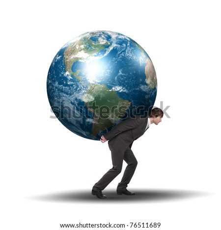 Young man and a symbol of environmental protection. Illustration - stock photo