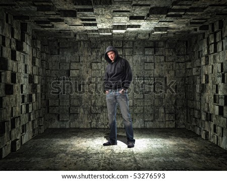 young man and grunge 3d  background - stock photo