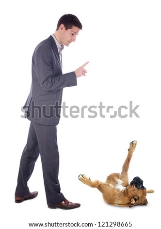 young man and his boxer in front of white background - stock photo