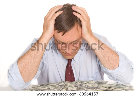 young man and money on white - stock photo
