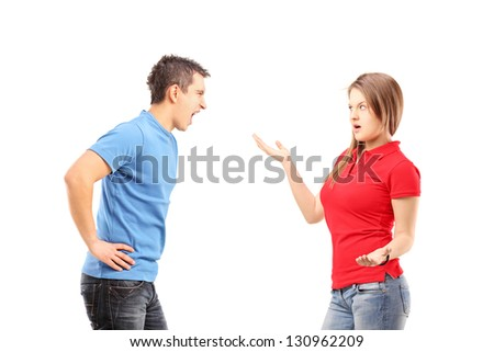 Young man and woman arguing isolated on white background - stock photo