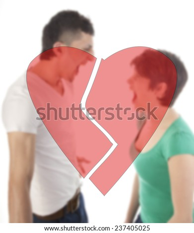 Young man and woman shouting at each other with broken heart isolated on white background - stock photo