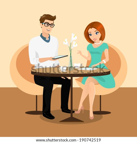 Young man and woman using a tablets pc in the restaurant. Rasterized vector illustration - stock photo
