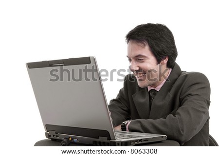 young man and working with is laptop