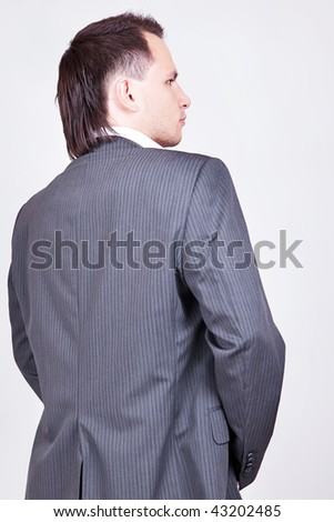 young man button up, back
