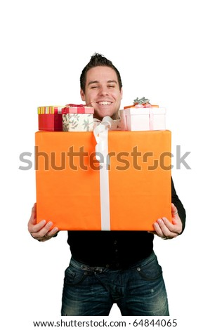 Young man carring a bunch of presents isolated on white