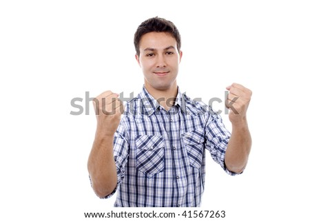 young man casual champion expression - stock photo