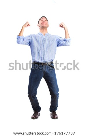 young man celebrating his success - stock photo
