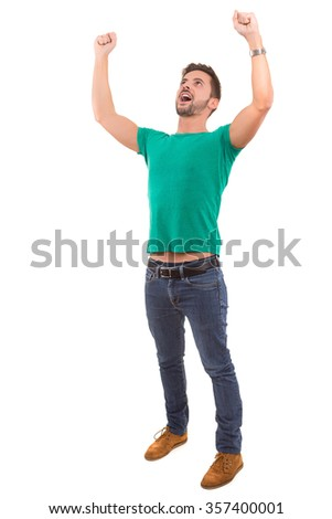 Young man celebrating - isolated over white background - stock photo