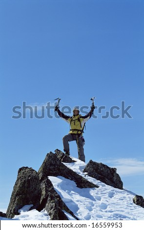 Young man celebrating reaching the top of a mountain - stock photo