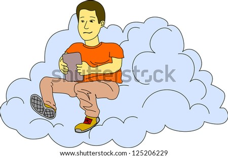 Young man checks his tablet while he sits in a cloud.