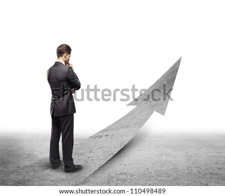 young man choosing right way - stock photo