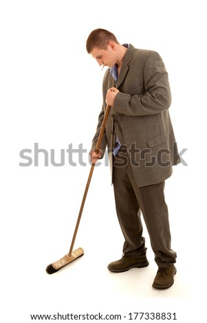young man cleaning the floor, white background