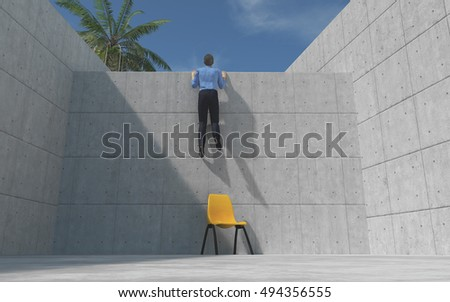 Young man climbed a concrete wall, looking over the wall. This is a 3d render illustration