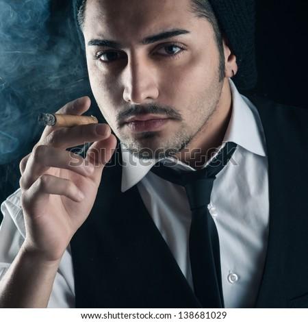 image Cigar loving young men jerking off hard until a blasting end