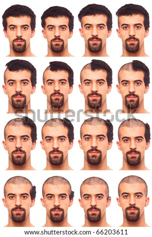 Young Man Collection of Expression Cropping Hairs - stock photo
