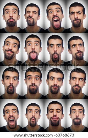 Young Man Collection of Expressions - stock photo